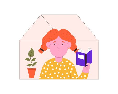 Woman is reading a book at home. Quarantine isolation. Stay at home. Vector flat illustration.