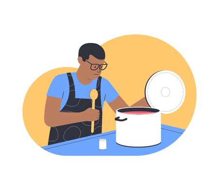 Man cooks in the kitchen. Cooking at home. Flat vector illustration
