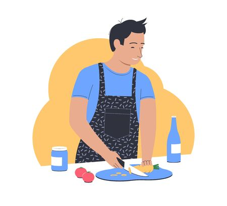 Cooking at home. Man cooks in the kitchen. Man cuts vegetables for salad. Flat vector illustration