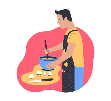 Cooking at home. Man cooks in the kitchen. Flat vector illustration Vectores