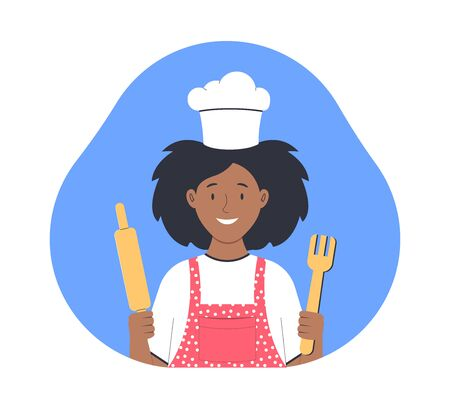 Cooking at home. Woman cooks in the kitchen. Flat vector illustration Vectores