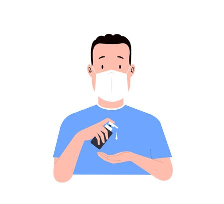 Man washes his hands. Young man in a medical mask uses an antiseptic. Vector illustration 版權商用圖片 - 150513697