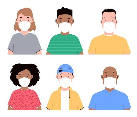 Group of people in face masks. Men and women wearing medical masks to prevent disease. Flat vector illustration Vectores