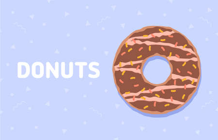Food background with delicious donut. Colorful glazed donut. Vector illustration 版權商用圖片 - 150835688