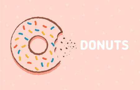 Colorful glazed donut. Food background with delicious donut. Vector illustration