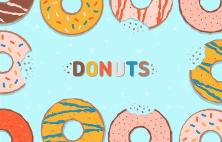 Colorful glazed donuts. Food background with delicious donuts. Vector illustration