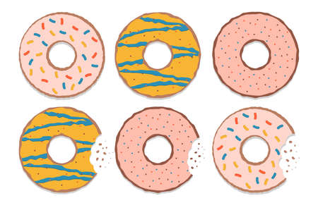 Set of colorful glazed donuts. Delicious doughnuts isolated on a white background. Vector illustration