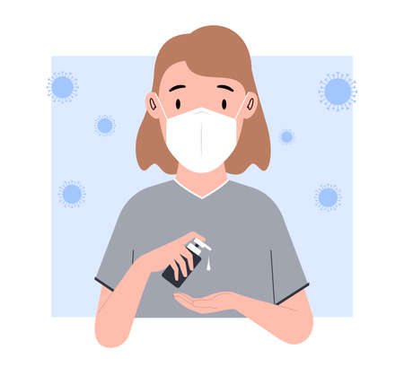 Woman washes his hands. Young Woman in a medical mask uses an antiseptic. Vector illustration