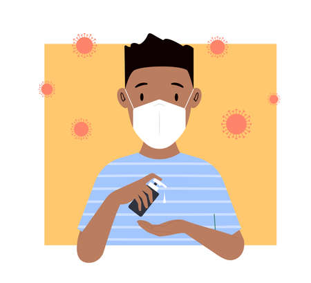 Man washes his hands. Young man in a medical mask uses an antiseptic. Vector illustration