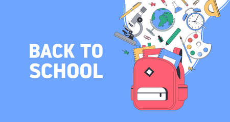 Back to school. School supplies with bag. Templates with place for text for invitation, poster, banner, sale. Vector back to school illustration. 向量圖像