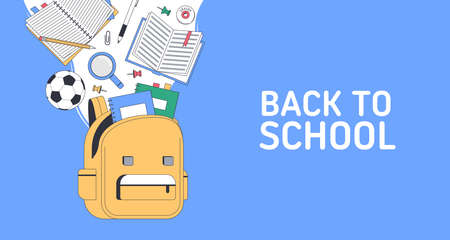 Back to school. School supplies with bag. Templates with place for text for invitation, poster, banner, sale. Vector back to school illustration. Vectores