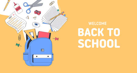 Back to school banner. School supplies with bag. Templates with place for text for invitation, poster, banner, sale. Vector back to school illustration. 向量圖像