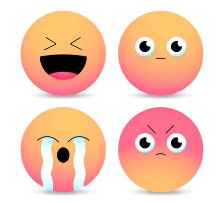Gradient emoticons. Set of Emoji. Smiley face icons isolated in white background. Vector illustration 版權商用圖片 - 165455191