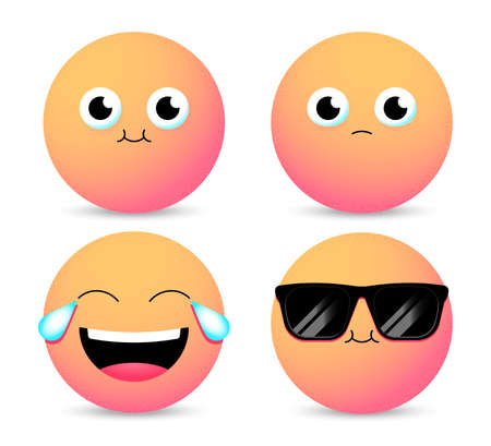 Set of Emoji. Smiley face icons isolated in white background. Gradient emoticons. Vector illustration