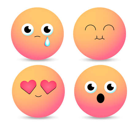 Smiley face icons isolated in white background. Gradient emoticons. Set of Emoji. Vector illustration Foto de archivo