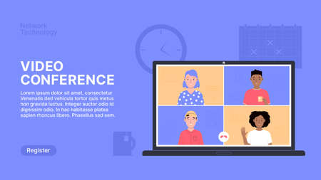 Online Video Conference Landing Page Vector Illustration 1-2 Vectores