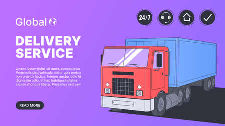 Landing Page with Delivery Truck Vector Illustration Vectores