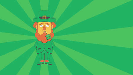 Leprechaun with Clover on the Green Rays Background