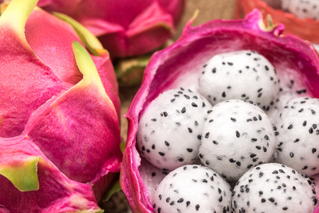 Fresh and sweet dragon fruit crafted in balls for dessert background
