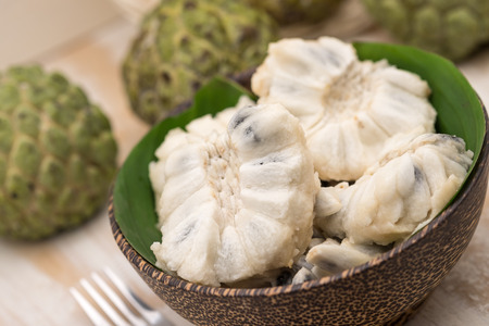 annona: Fresh and sweet custard apples for tropical Thai fruit dessert Stock Photo