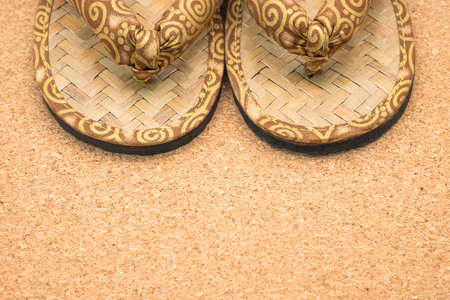 sandles: Handmade sandals or slippers with Thai silk design