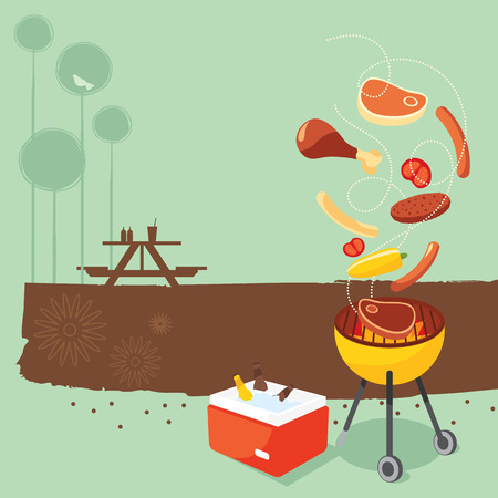 grilled: Retro BBQ party background Illustration