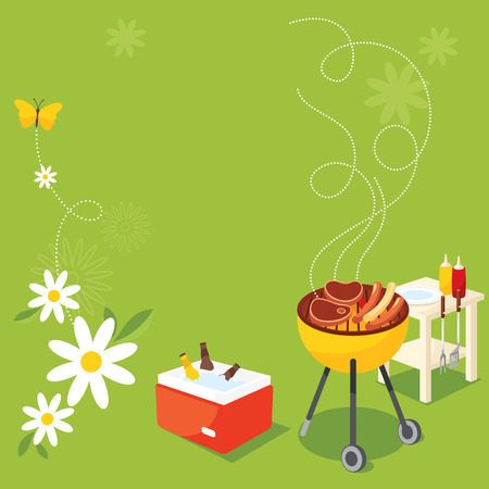 party food: BBQ Party Illustration