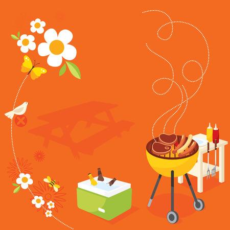 bee garden: BBQ Party Illustration