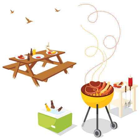 barbecue grill: BBQ Party Illustration