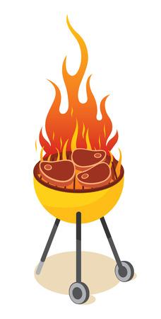 barbecue grill: BBQ grill - steak Illustration