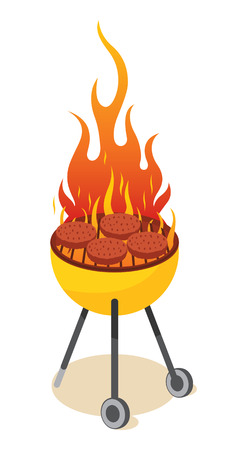 bbq: BBQ grill - burger Illustration