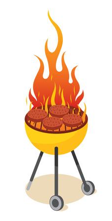 BBQ-grill - hamburger Vector Illustratie