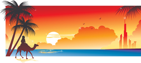 young culture: Beach Sunset Banner