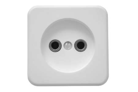 jackplug: The electric socket in the white case and on a white background