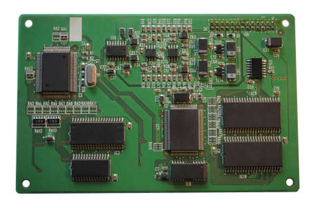 The computer electronic card with chips, microprocessors, transistors, explorers and other electronic parts.