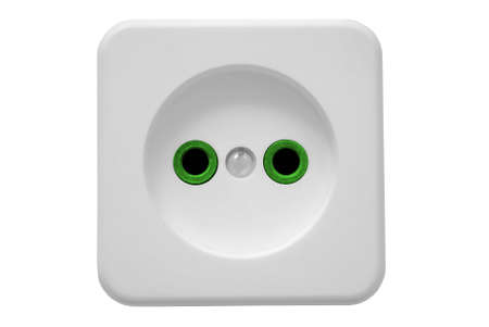 jackplug: The electric socket in the white case and on a white background.