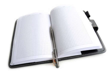 Open notebook with the handle, on white background. photo