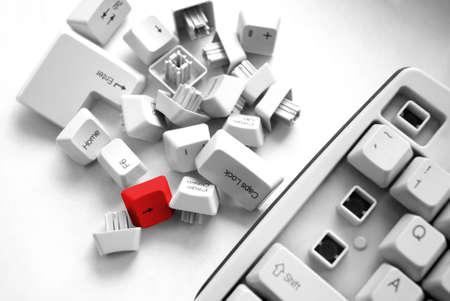Computer Keyboard at an angle. Computer hardware and keyboard. Keyboard detail. photo