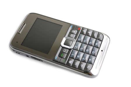 bevoelen: De slimme telefoon. Moderne mobiele telefoon op witte achtergrond. Stockfoto
