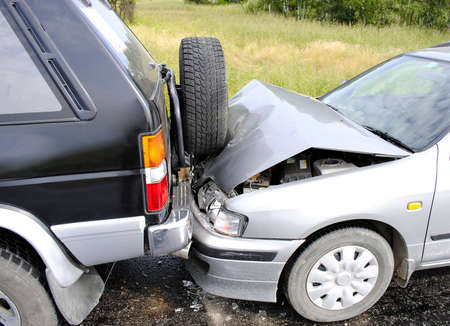 collision: Car accident on the highway Stock Photo