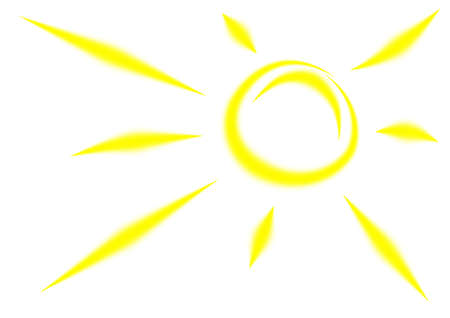 sunny sky: The bright yellow sun with long beams.