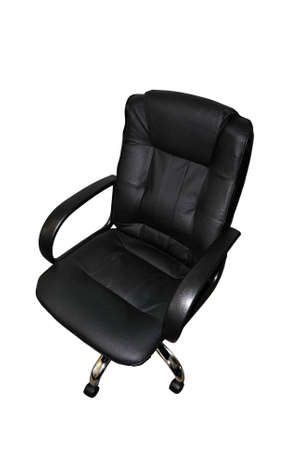 executive chair: Office black armchair isolated on white background