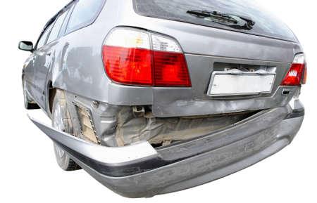 Back bumper of the car after a car accident  Banco de Imagens