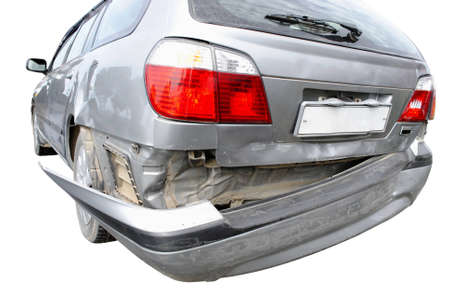scrunch: Back bumper of the car after a car accident  Stock Photo