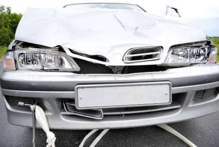The modern car broken after road failure Banco de Imagens