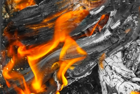 A view into the middle of a wood fire with flames, glowing embers and blackened wood logs with white ashes. Stock Photo - 21972984