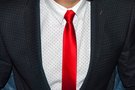 Executive dressed in business attire, red silk tie and grey wool suit Stock Photo
