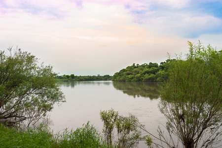colourful sky: The river in the Far East Russia Stock Photo