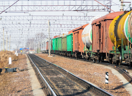 railway transportations: The railroad and the passing train on the railway tanks