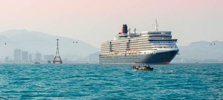 sail fin: Big cruise ship in port Stock Photo